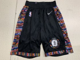 Wholesale Cheap Nets Black City Edition Nike Swingman Shorts