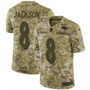 Wholesale Cheap Nike Ravens #8 Lamar Jackson Camo Men's Stitched NFL Limited 2018 Salute To Service Jersey