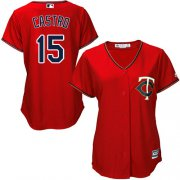 Wholesale Cheap Twins #15 Jason Castro Red Alternate Women's Stitched MLB Jersey