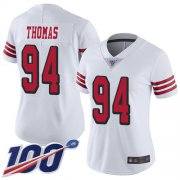Wholesale Cheap Nike 49ers #94 Solomon Thomas White Rush Women's Stitched NFL Limited 100th Season Jersey