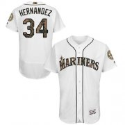 Wholesale Cheap Mariners #34 Felix Hernandez White Flexbase Authentic Collection Memorial Day Stitched MLB Jersey