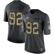 Wholesale Cheap Nike Giants #92 Michael Strahan Black Men's Stitched NFL Limited 2016 Salute to Service Jersey
