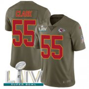 Wholesale Cheap Nike Chiefs #55 Frank Clark Olive Super Bowl LIV 2020 Men's Stitched NFL Limited 2017 Salute To Service Jersey
