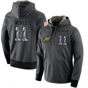 Wholesale Cheap NFL Men's Nike Philadelphia Eagles #11 Carson Wentz Stitched Black Anthracite Salute to Service Player Performance Hoodie