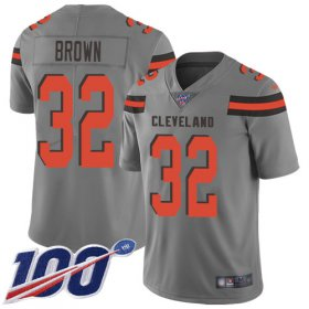 Wholesale Cheap Nike Browns #32 Jim Brown Gray Men\'s Stitched NFL Limited Inverted Legend 100th Season Jersey