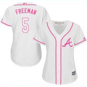 Wholesale Cheap Braves #5 Freddie Freeman White/Pink Fashion Women's Stitched MLB Jersey