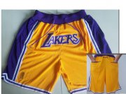 Wholesale Cheap Los Angeles Lakers Yellow Nike NBA Throwback Shorts