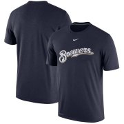 Wholesale Cheap Milwaukee Brewers Nike Batting Practice Team Logo Legend Performance T-Shirt Navy