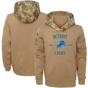 Wholesale Cheap Youth Detroit Lions Nike Khaki 2019 Salute to Service Therma Pullover Hoodie