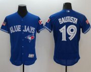 Wholesale Cheap Blue Jays #19 Jose Bautista Blue Fashion Stars & Stripes Flexbase Authentic Stitched MLB Jersey