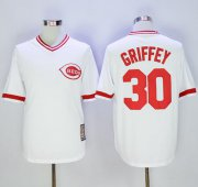 Wholesale Cheap Mitchell And Ness Reds #30 Ken Griffey White Throwback Stitched MLB Jersey