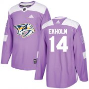 Wholesale Cheap Adidas Predators #14 Mattias Ekholm Purple Authentic Fights Cancer Stitched NHL Jersey