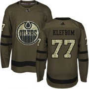 Wholesale Cheap Adidas Oilers #77 Oscar Klefbom Green Salute to Service Stitched NHL Jersey