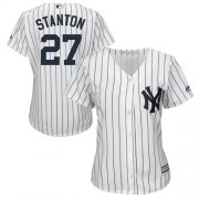 Wholesale Cheap Yankees #27 Giancarlo Stanton White Strip Home Women's Stitched MLB Jersey