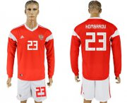 Wholesale Cheap Russia #23 Kombarov Red Home Long Sleeves Soccer Country Jersey