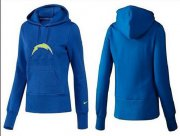 Wholesale Cheap Women's Los Angeles Chargers Logo Pullover Hoodie Blue