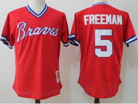 Wholesale Cheap Mitchell And Ness Braves #5 Freddie Freeman Red Throwback Stitched MLB Jersey