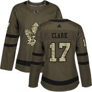 Wholesale Cheap Adidas Maple Leafs #17 Wendel Clark Green Salute to Service Women's Stitched NHL Jersey
