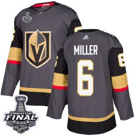 Wholesale Cheap Adidas Golden Knights #6 Colin Miller Grey Home Authentic 2018 Stanley Cup Final Stitched NHL Jersey