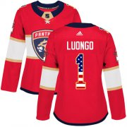 Wholesale Cheap Adidas Panthers #1 Roberto Luongo Red Home Authentic USA Flag Women's Stitched NHL Jersey
