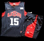 Wholesale Cheap 2012 Olympic USA Team #15 Carmelo Anthony Blue Basketball Jerseys & Shorts Suit
