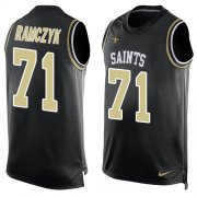 Wholesale Cheap Nike Saints #71 Ryan Ramczyk Black Team Color Men's Stitched NFL Limited Tank Top Jersey