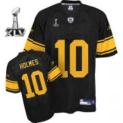 Wholesale Cheap Steelers #10 Santonio Holmes Black With Yellow Number Super Bowl XLV Stitched NFL Jersey