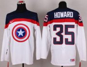 Wholesale Cheap Olympic Team USA #35 Jimmy Howard White Captain America Fashion Stitched NHL Jersey