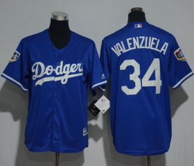 Wholesale Cheap Dodgers #34 Fernando Valenzuela Blue Cool Base 2018 World Series Stitched Youth MLB Jersey