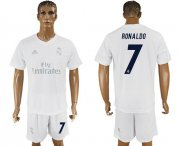 Wholesale Cheap Real Madrid #7 Ronaldo Marine Environmental Protection Home Soccer Club Jersey