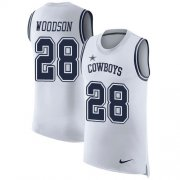 Wholesale Cheap Nike Cowboys #28 Darren Woodson White Men's Stitched NFL Limited Rush Tank Top Jersey