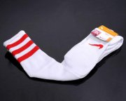 Wholesale Cheap Nike Soccer Football Sock White & Red Stripe