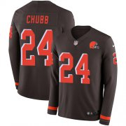 Wholesale Cheap Nike Browns #24 Nick Chubb Brown Team Color Men's Stitched NFL Limited Therma Long Sleeve Jersey