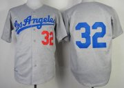 Wholesale Cheap Mitchell And Ness 1963 Dodgers #32 Sandy Koufax Grey Throwback Stitched MLB Jersey