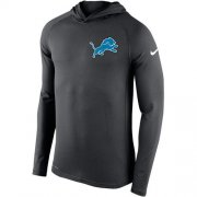 Wholesale Cheap Men's Detroit Lions Nike Charcoal Stadium Touch Hooded Performance Long Sleeve T-Shirt