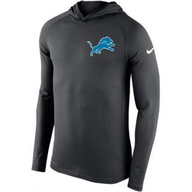 Wholesale Cheap Men\'s Detroit Lions Nike Charcoal Stadium Touch Hooded Performance Long Sleeve T-Shirt
