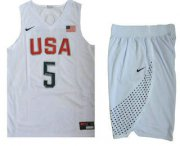 Wholesale Cheap 2016 Olympics Team USA Men's #5 Kevin Durant Revolution 30 Swingman White Jersey With Shorts