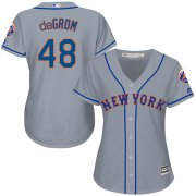 Wholesale Cheap Mets #48 Jacob deGrom Grey Road Women's Stitched MLB Jersey