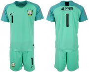 Wholesale Cheap Brazil #1 Alisson Green Goalkeeper Soccer Country Jersey