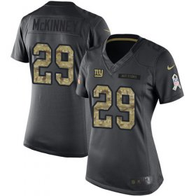 Wholesale Cheap Nike Giants #29 Xavier McKinney Black Women\'s Stitched NFL Limited 2016 Salute to Service Jersey