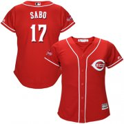 Wholesale Cheap Reds #17 Chris Sabo Red Alternate Women's Stitched MLB Jersey