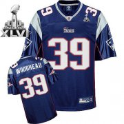 Wholesale Cheap Patriots #39 Danny Woodhead Dark Blue Super Bowl XLVI Embroidered NFL Jersey
