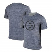 Wholesale Cheap Men's Pittsburgh Steelers Nike Gray Black Striped Logo Performance T-Shirt