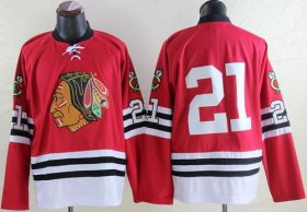 Wholesale Cheap Mitchell And Ness 1960-61 Blackhawks #21 Stan Mikita Red Throwback Stitched NHL Jersey
