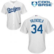 Wholesale Cheap Dodgers #34 Fernando Valenzuela White Cool Base Stitched Youth MLB Jersey