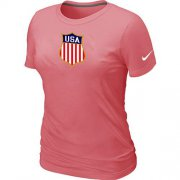 Wholesale Cheap Women's Nike Team USA Hockey Winter Olympics KO Collection Locker Room T-Shirt Pink