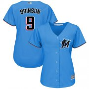 Wholesale Cheap Marlins #9 Lewis Brinson Blue Alternate Women's Stitched MLB Jersey