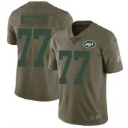 Wholesale Cheap Nike Jets #77 Mekhi Becton Olive Youth Stitched NFL Limited 2017 Salute To Service Jersey