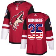 Wholesale Cheap Adidas Coyotes #35 Louis Domingue Maroon Home Authentic USA Flag Stitched Youth NHL Jersey
