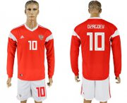 Wholesale Cheap Russia #10 Dzagoev Red Home Long Sleeves Soccer Country Jersey